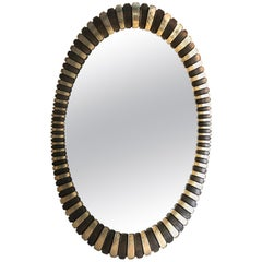 Sophisticated Large Oval Gilded Two-Tone Midcentury Modern Sunburst Mirror