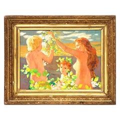Art Nouveau Oil Painting, Bathing Youths, 1910s