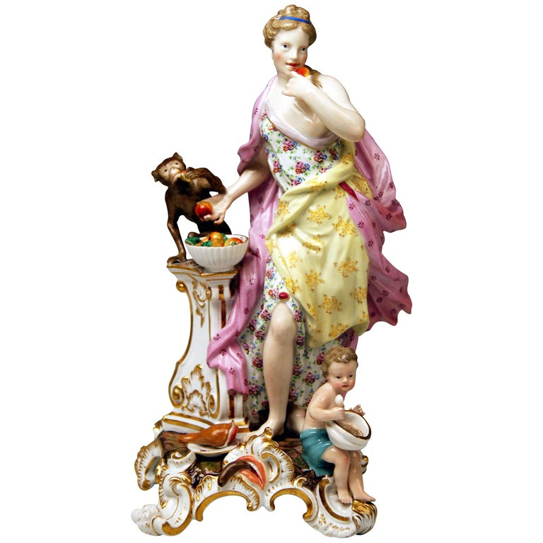 Meissen Figurines Allegory of Taste Model 1042 by Eberlein Made circa 1860 For Sale