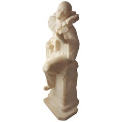 Romantic Italy Pierrot Alabaster Sculpture, 1900s