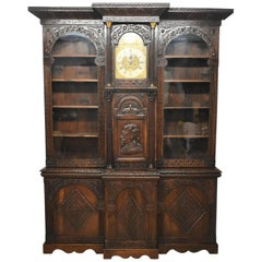 Victorian Carved Oak Cabinet or Bookcase with Phil Walton Devizes Clock