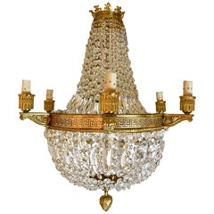 Large Vintage French Crystal and Bronze Greek Key Chandelier