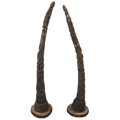 Pair of Carved Wood Yoruba Tribe Blow Horns with Figurative Bases