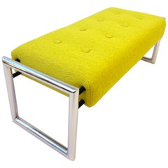 Chartreuse 1960s Chrome Bench