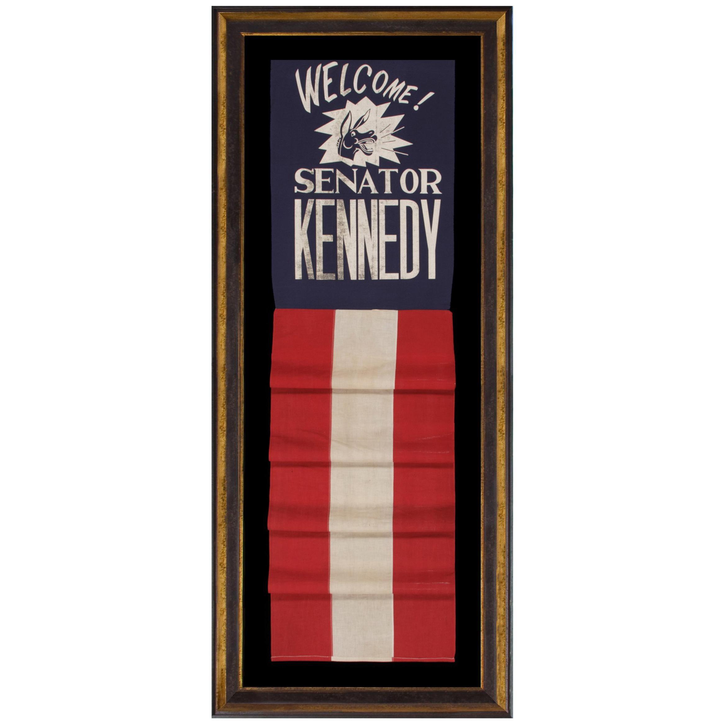Graphic Banner Welcoming John F. Kennedy as Senator from Massachusetts