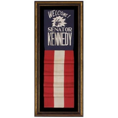 Graphic Banner Welcoming John F. Kennedy as Senator from Massachusetts