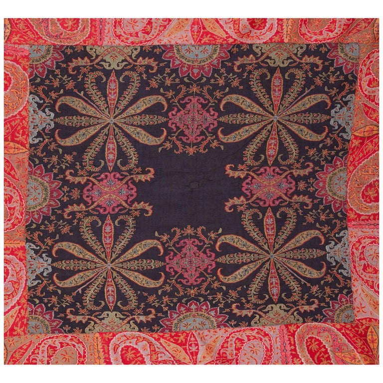 Antique Kashmir Long Shawl from India Early 19th Century, 1830s For Sale