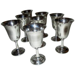 Mid-Century Modern Sterling Silver Wallace Silver Water Goblet Set