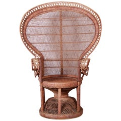 Iconic Bohemian Wicker Emanuelle Peacock Chair, 1970s