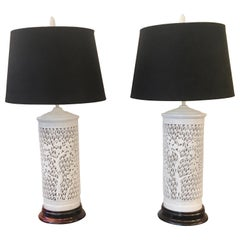 Pair of Hollywood Regency Blanc de Chine Porcelain Lamps