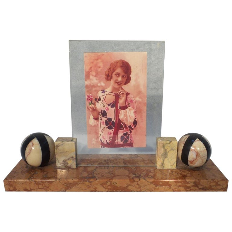 Art Deco Large Photo Frame French with Striped Marble Balls, circa 1930 For Sale