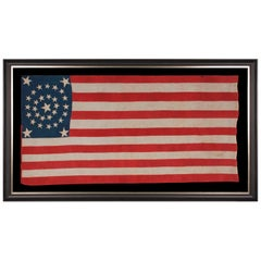 31 Stars in a Medallion Pattern on an Elongated Homemade Flag