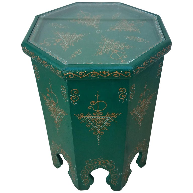 Large Hexagonal Moroccan Hand Painted Side Table Green For