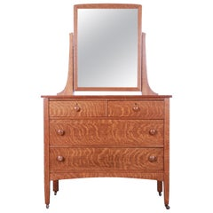 Antique Tiger Oak Dresser with Swing Mirror, circa 1900