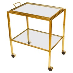 Vintage Brass Bar Cart with Mirror Tray