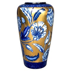 Blue, White and Gilt Floral Vase