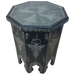 Large Hexagonal Moroccan Hand Painted Side Table, Black 1