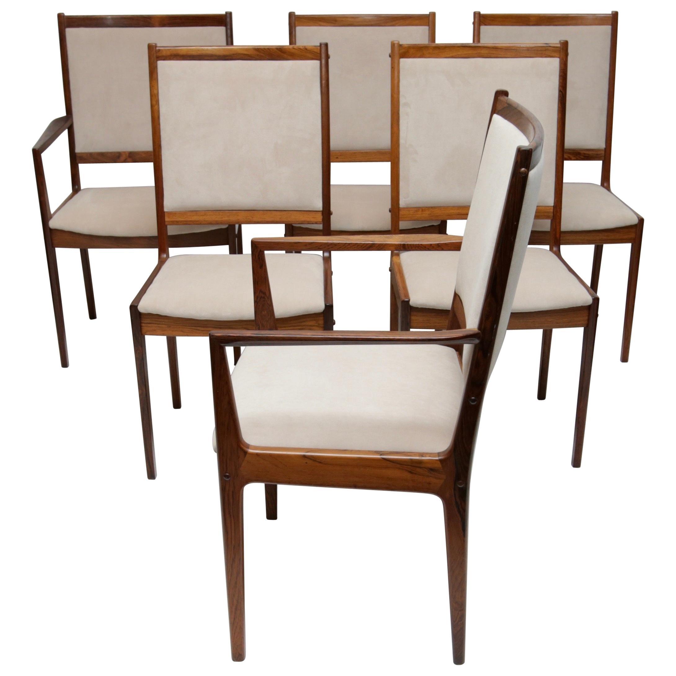 Set Of 6 Danish Modern Rosewood Chairs By Bernhard Pedersen For Sale