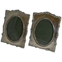 Pair of Antique English Sterling Silver Photograph Frames by Henry Matthews