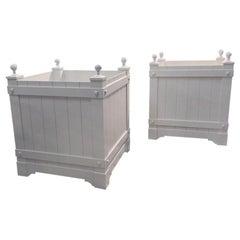 Paar aus Metall, Aluminium Jardinière Pflanzer
