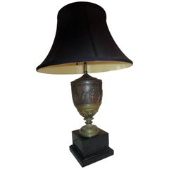 19th century French Neo-Greek Style Patinated Brass and Onyx Lamp