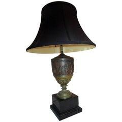 19. Jahrhundert französischen Neo- griechischen Stil patiniert, Messing und Onyx-Lampe