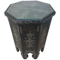 Large Hexagonal Moroccan Hand Painted Side Table, Black 2