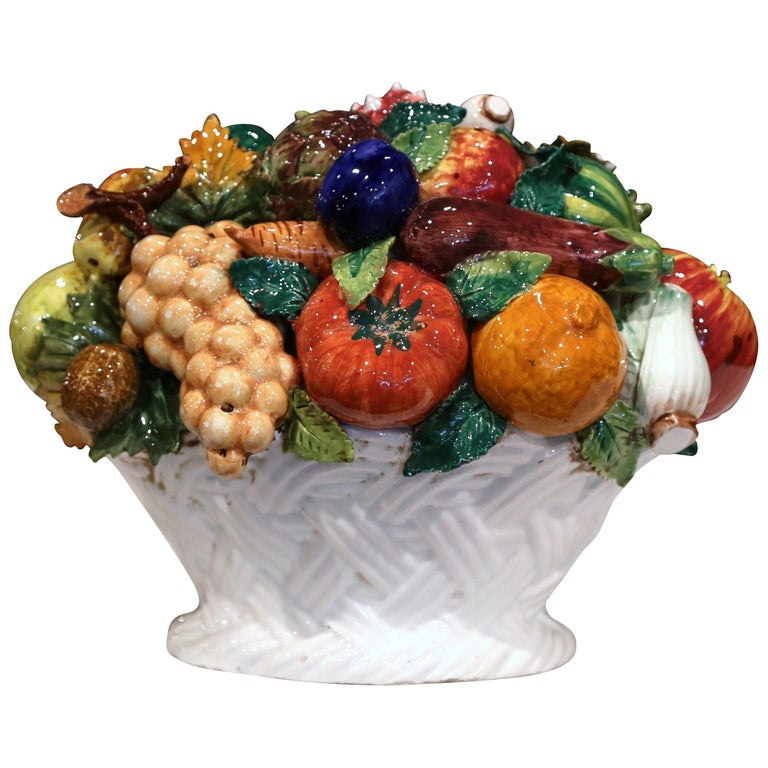 Mid-20th Century French Painted Ceramic Barbotine Fruit Basket Composition For Sale