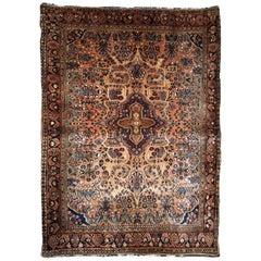 Handmade Antique Sarouk Style Rug, 1920s
