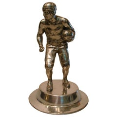 American Football Sculpture/Trophy, Desk Piece, Silvered Metal, 1930s