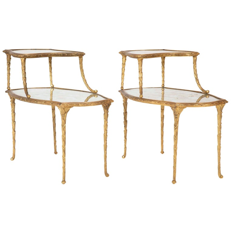 Pair of Bronze Maison Charles Side Tables For Sale