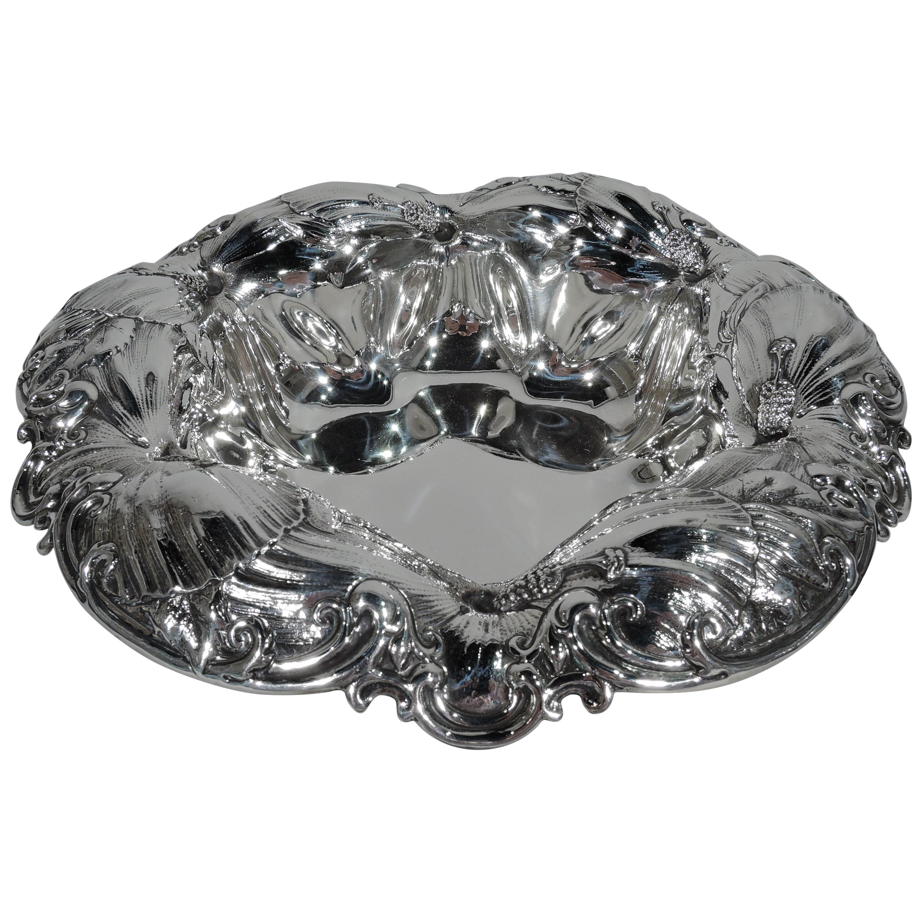 Beautiful Whiting Art Nouveau Sterling Silver Bowl with Big Blooms