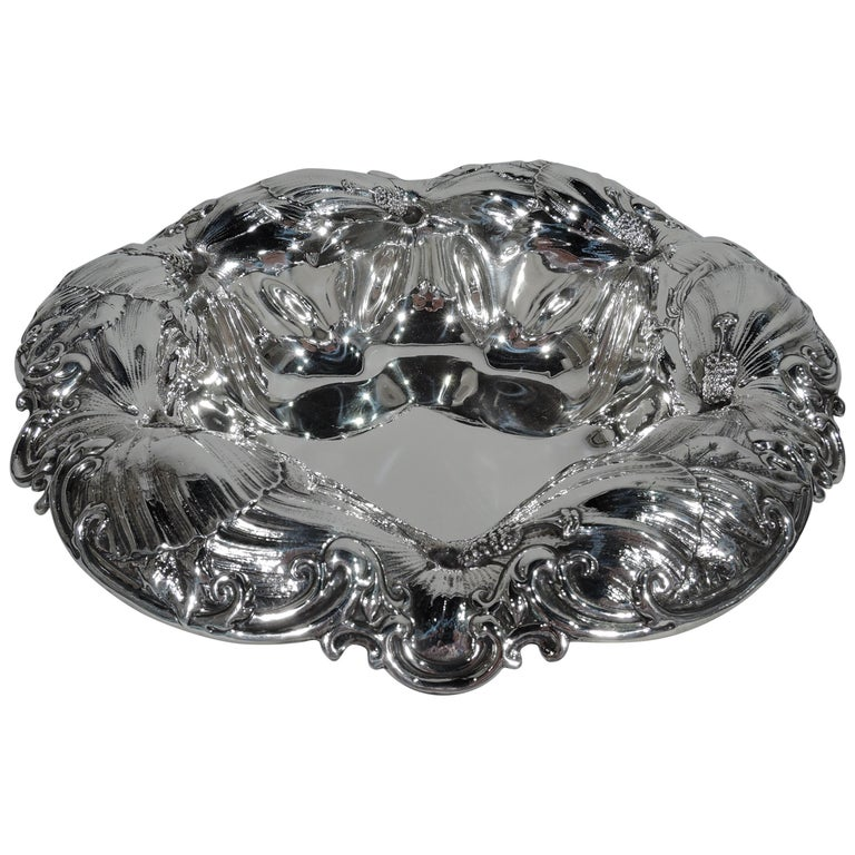 Beautiful Whiting Art Nouveau Sterling Silver Bowl with Big Blooms For Sale