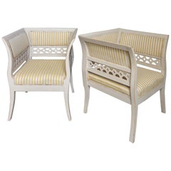 Gustavian Style Swedish Armchairs in Rare Form
