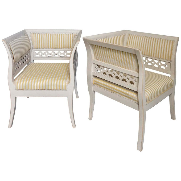 Gustavian Style Swedish Armchairs in Rare Form For Sale
