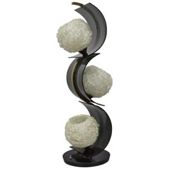 "Vintage ""S"" Shape Sculptural Brass Table Lamp 3 Spun Spaghetti Fiberglass Shades"