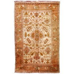 Handmade Antique Turkish Oushak Rug, 1880s