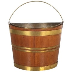 Irish 19th Century Oval Oak Brass Peat Bucket