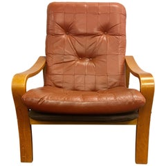 Danish Modern Teak and Leather Lounge Chair