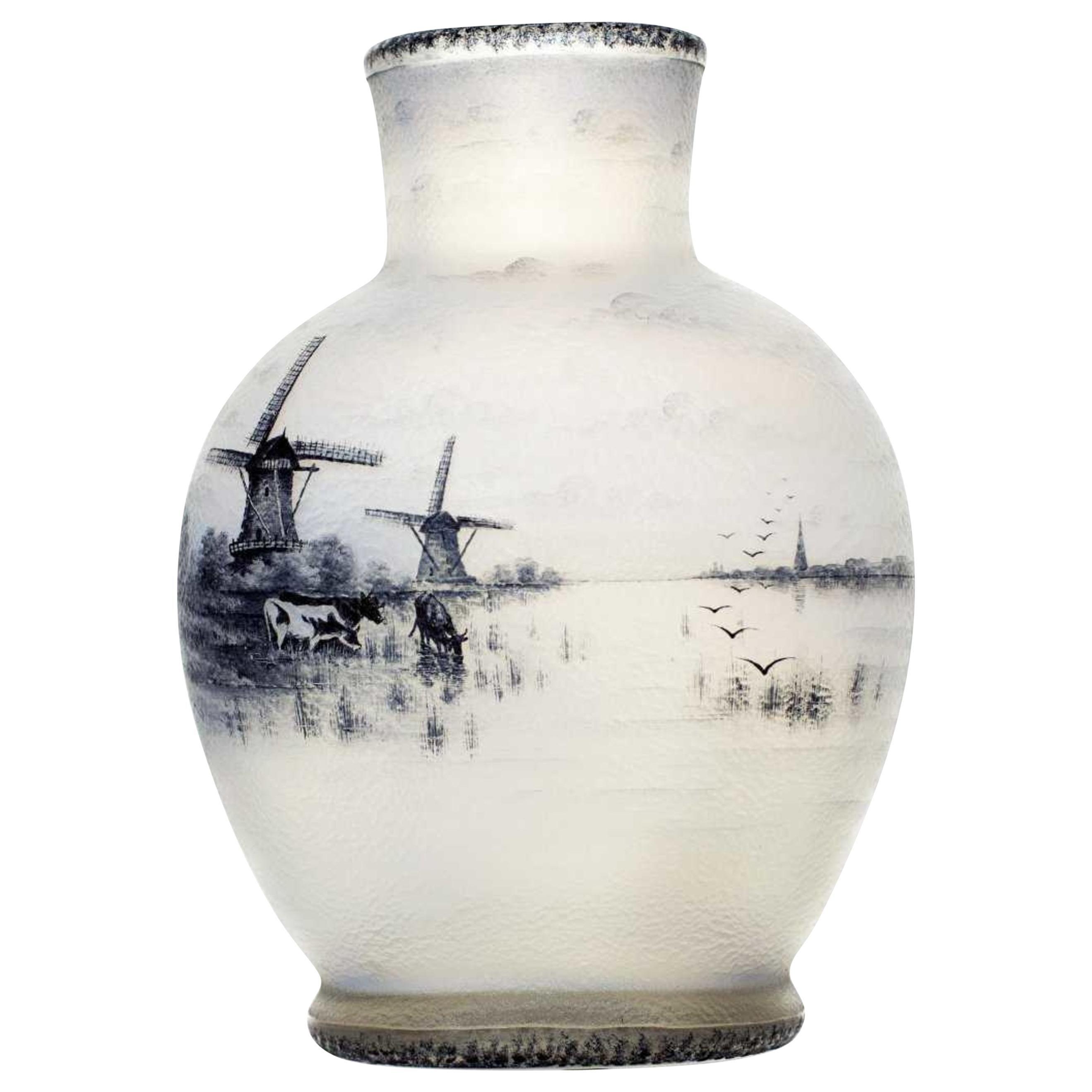 Daum Nancy enamelled and acid etched Glass Vase,  'Dutch Landscape'