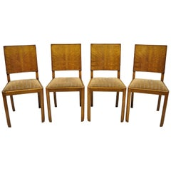 Set of 4 French Art Deco Mahogany Inlaid Dining Side Chairs