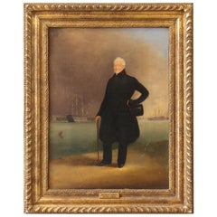 Mid-19th Century Portrait of a Gentleman in a Harbor Scene