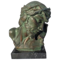 Antique Terracotta Religous Jesus Bust on Marble Base Signed by Belgian S Maton