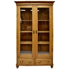 Pine Two-Door Glazed Cupboard or Vitrine
