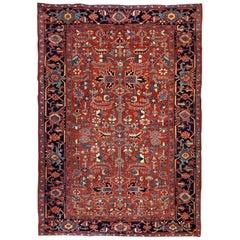 Handmade antique Heriz style rug, 1900s, 1B713