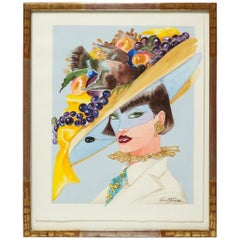 Original Antonio Lopez Fashion Illustration for Italian Vogue