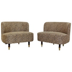 Pair of Art Deco Leopard Tufted Barrel Slipper Chairs Rohde Haines Style