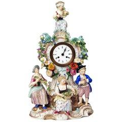 Meissen Mantle Table Clock Gardener Figurines Model 572 by Leuteritz, circa 1880