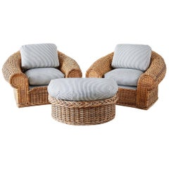 Michael Taylor Style Wicker Lounge Chairs with Ottoman