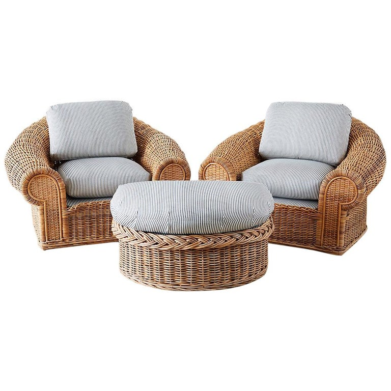 Michael Taylor Style Wicker Lounge Chairs With Ottoman For